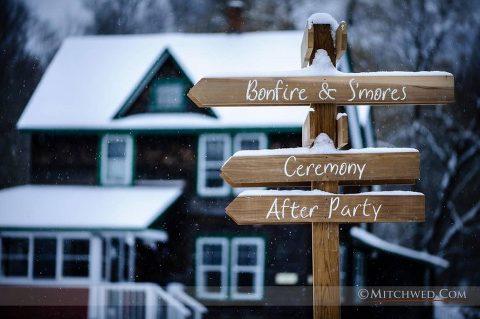 full moon resort wedding snowy wedding day
